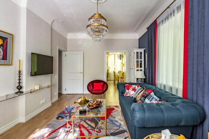 Интерьер гостиной площадью 18 м²
