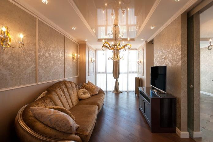 Интерьер гостиной прямоугольной формы площадью 18 квадратов