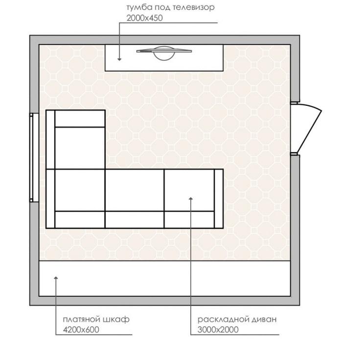 планировка прямоугольной гостиной