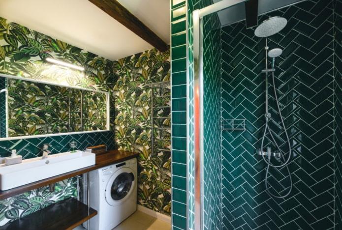 тропический принт для ванной комнаты