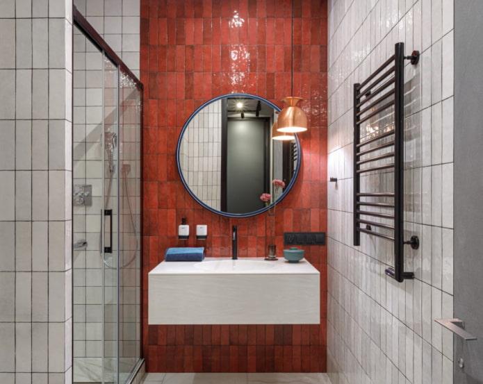 красная плитка для ванной комнаты
