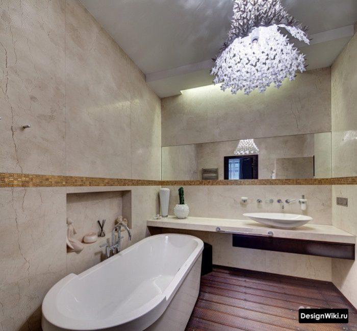 Дизайн столешницы и отдельно стоящей ванны