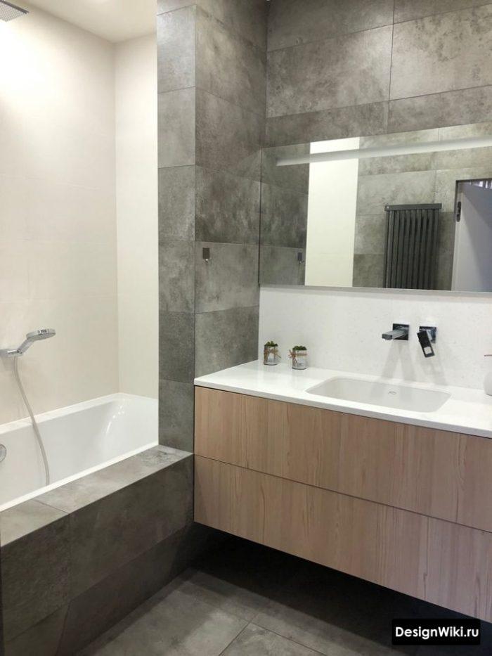 Дизайн ванной комнаты со встроенным смесителем