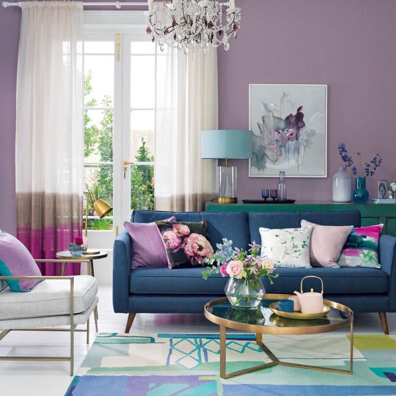 Фиолетовая гостиная 18 кв.м 3