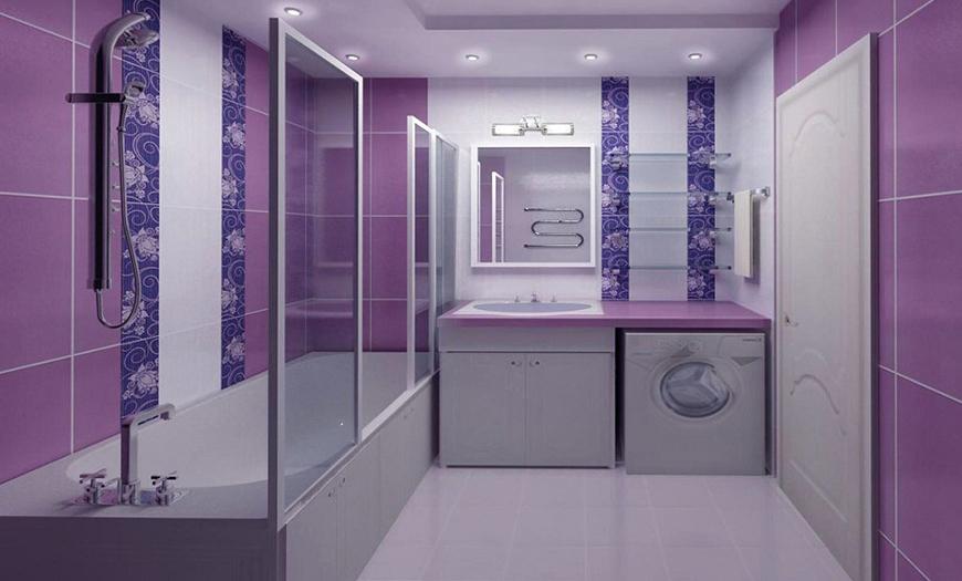 Фиолетовая ванная комната.
