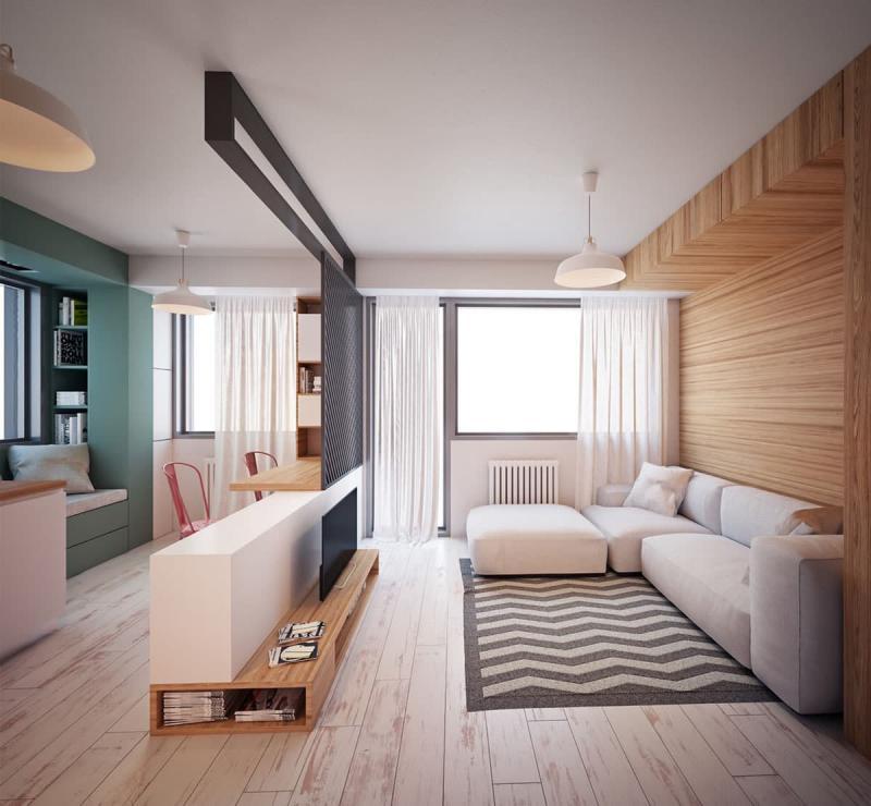 Гостиная 18 м² спальное место 5