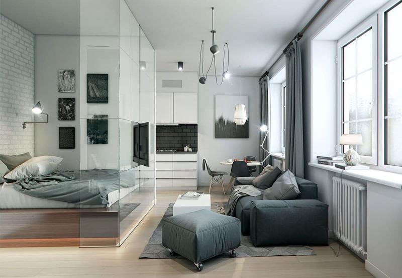 Гостиная 18 м², рассчитанная на 6 человек