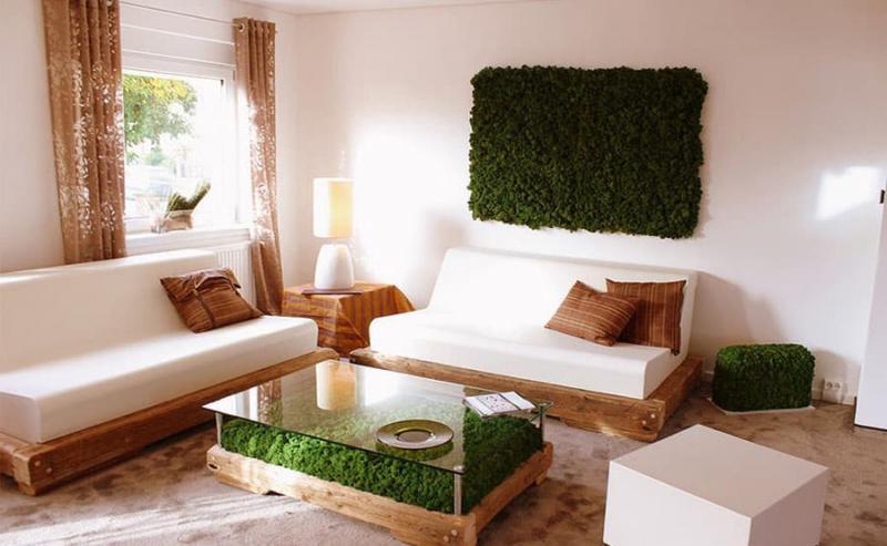 Спальня с двуспальной кроватью 18 кв.м. Эко стиль 4