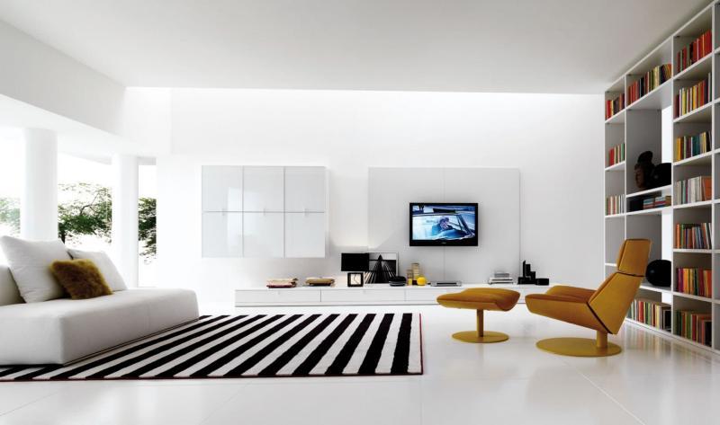 Гостиная 18 м² минималистский стиль 1