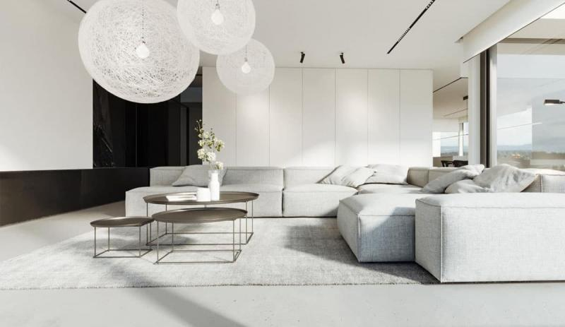 Гостиная 18 кв.м., стиль минимализм 3