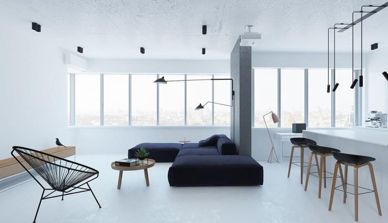 Гостиная 18 кв.м. минималистский стиль 5