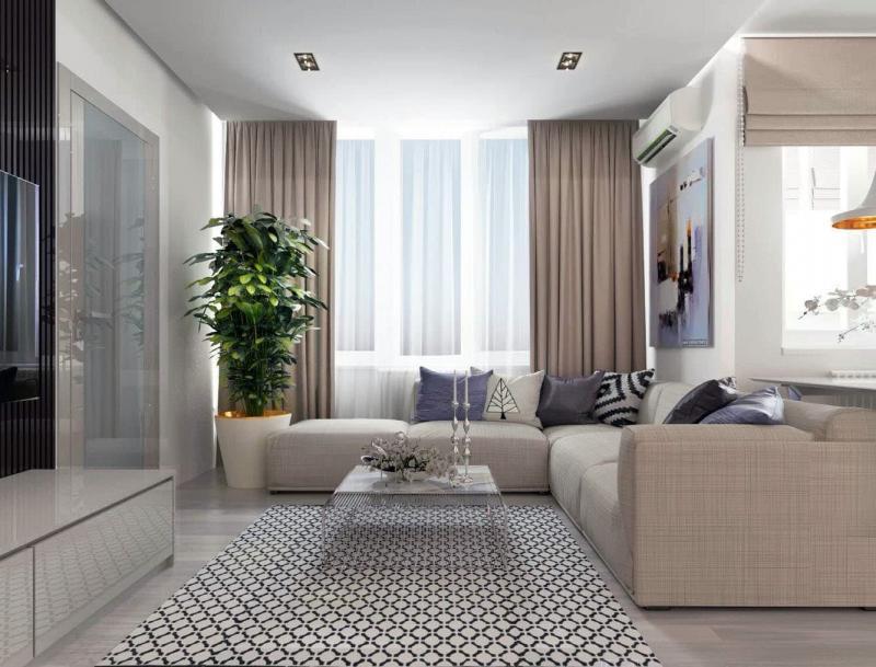 Гостиная 18 м² с балконом 4