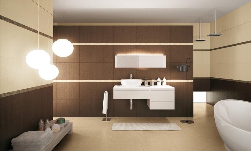 коричневые цвета ванной комнаты.