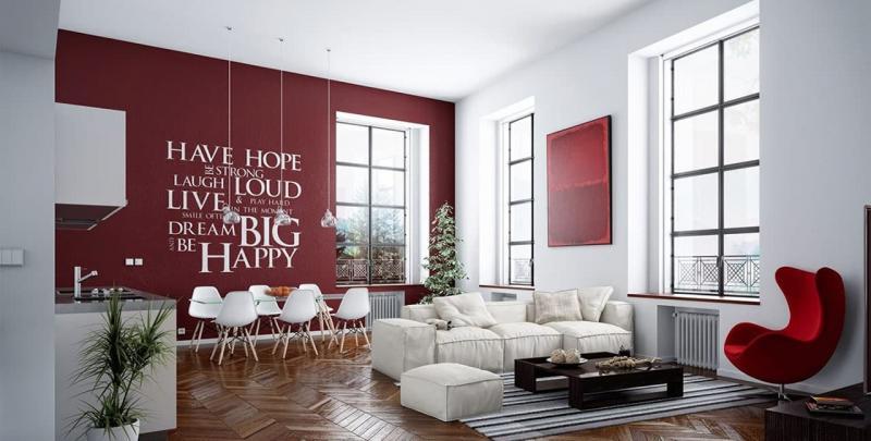 Красная гостиная 18 кв.м 2