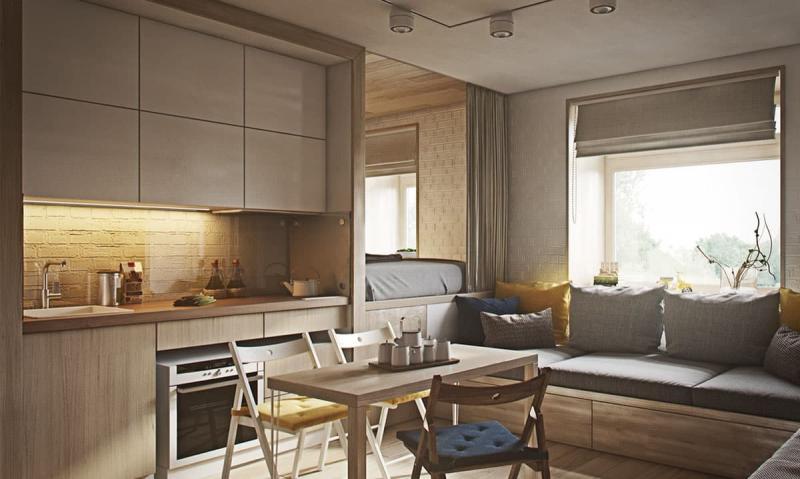 Кухня и гостиная 18 м 3