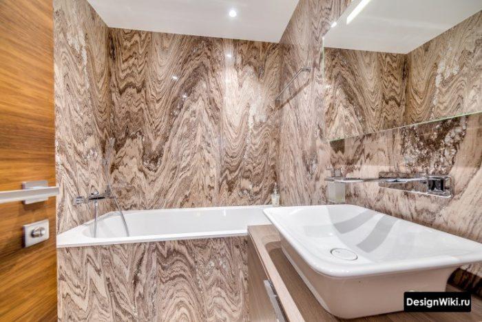 сланцевая плитка в ванной комнате