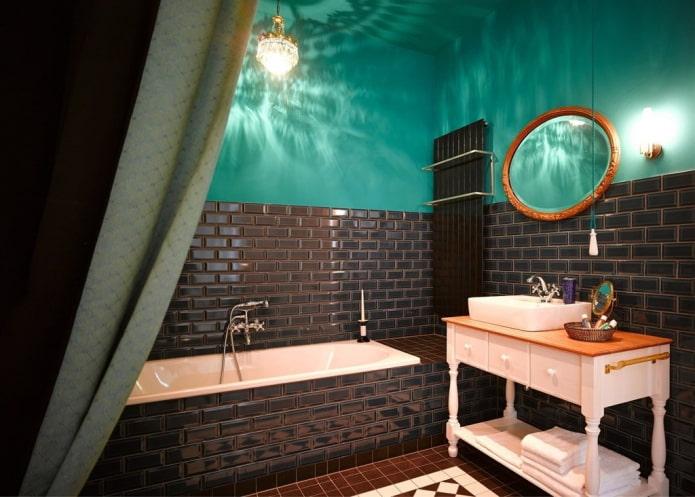 черно-бирюзовая ванная комната