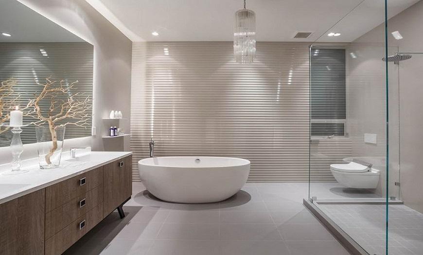 Серо-бежевая ванная комната
