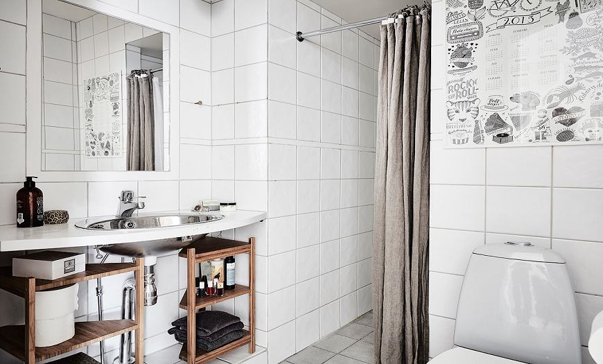 Ванная комната в скандинавском стиле.