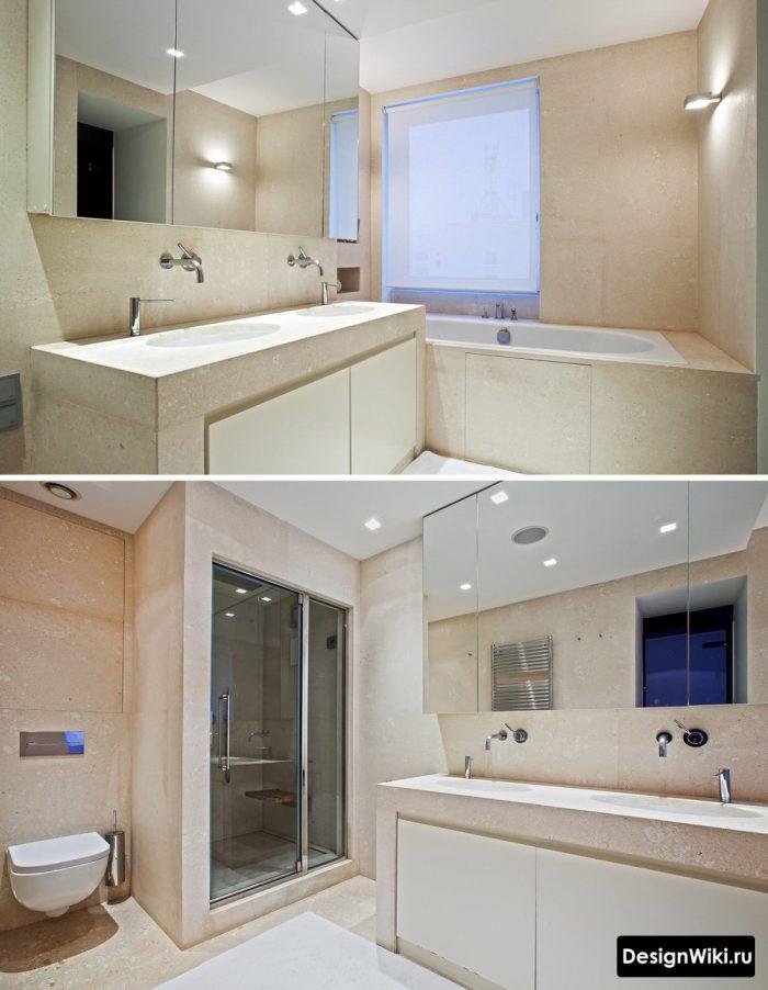 Современный дизайн ванной комнаты с душем и ванной