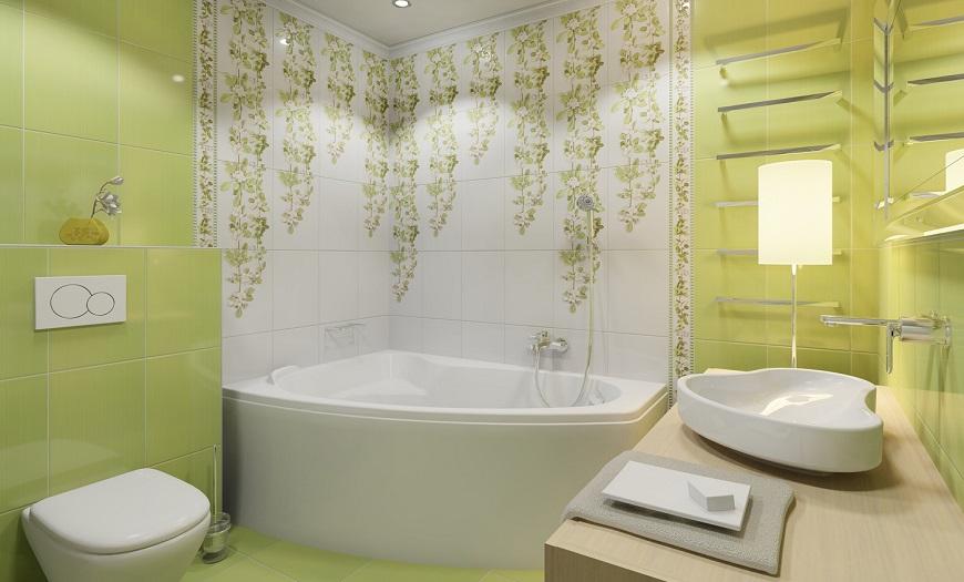 Зеленый интерьер ванной комнаты