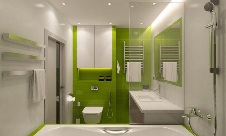 Ванная комната светло-зеленого цвета